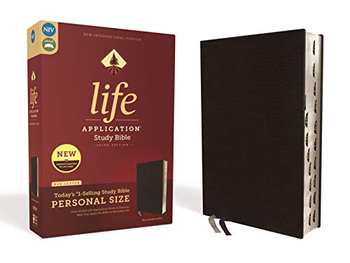Compare Textbook Prices for NIV, Life Application Study Bible, Third Edition, Personal Size, Bonded Leather, Black, Red Letter Edition, Thumb Indexed Indexed, Large Print Edition ISBN 0025986453008 by Zondervan