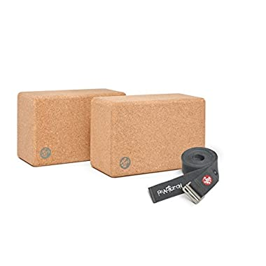 Manduka 2 Yoga Blocks Set with Align 10ft Yoga Strap (Thunder)