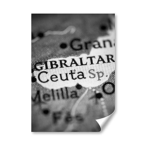 DV DESIGN 1 póster A3 de BW - Ceuta España Mapa Gibraltar Granada - Póster de pared grande #42664