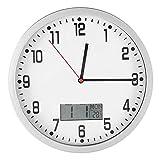 Orologio da parete silenzioso moderno multifunzionale LCD di grandi dimensioni con visualizzazione della temperatura della data per la decorazione del soggiorno camera da letto dell'ufficio domestico