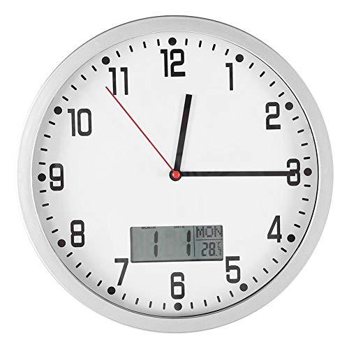 Wifehelper Moderne wandklok met datum, temperatuurweergave voor thuis, kantoor, slaapkamer, decoratie, grote digitale datum, kalender, temperatuurweergave