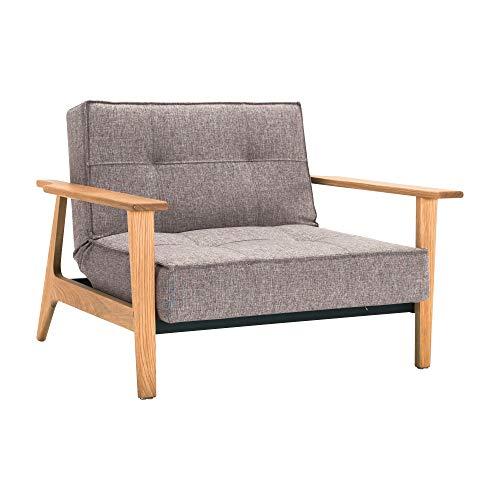 Innovation Splitback Frej Sessel Eiche, grau Stoff 521 Mixed Dance Grey Gestell Stahl schwarz Armlehnen Beine lackierte Eiche