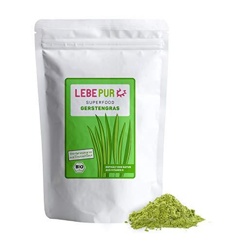 Lebepur BIO Gerstengras Pulver 1kg | aus deutschem Anbau | Rohkostqualität | 100% Gerstengraspulver | vegan | ballaststoffreich | rückstandskontrolliert | glutenfrei und laktosefrei | laborgeprüft