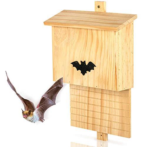 Großer Fledermauskasten aus Massiv-Holz - verschraubt, wetterfest, unbehandelt, Fledermaus-Haus & Nistkasten für Fledermäuse sowohl Sommer- & Winterquartier