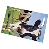 ghkfgkfgk Placemats Set of 6,Two Holstein Cows Standing On The Meadow Heat-Resistant Placemats Washable Table Mats For Kitchen Dining Table 12X18 Inch