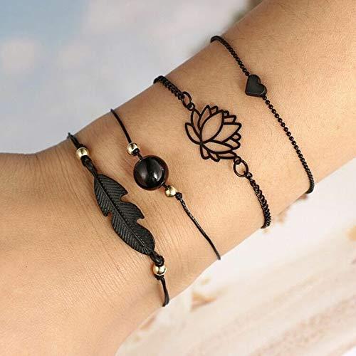 QFJCNZ Armband Blatt Knoten Hand Manschette Kette Bettelarmband Schwarz Liebe Herz Durchbrochene Lotus Ball Blätter Armband 4 Teile/Satz
