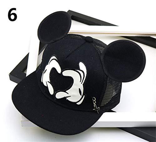 WULIAN Mode Cartoon Kinder Hut Junge und Mädchen Baseball Caps Nette Maus Mickey Baseball Hut Mit Ohren Flache Baseball Cap Baby Reisehüte, 6, Einstellbar