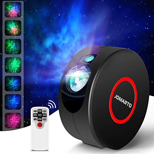 Sternenhimmel Projektor, JOMARTO 2 IN 1 LED Projektor und Nachtlicht 3 Stufens von einstellbare Geschwindigkeit und Helligkeit Projektor Lampe mit Fernbedienung Perfekt für DECO Party-Schwarz
