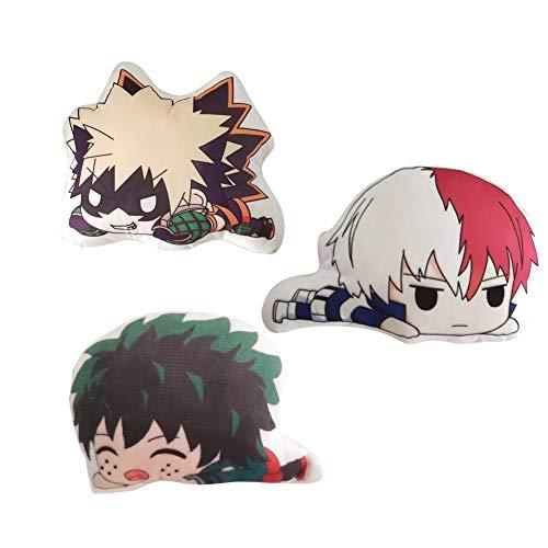 cluis My Hero Academia Plüsch Kissen Midoriya Izuku Neuheit Anime Cartoon Bild Kissen Schlüsselbund Anhänger Anime Fans Geschenk Mini Größe(3PCS-1)