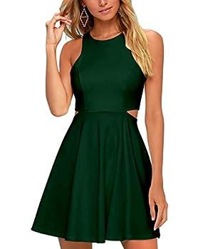 BELONGSCI Women Sweet and Cute Sleeveless Racerback Flared Swing A-Line Waist Hollow Out Summer Short Dress  Dark green-8812 Medium