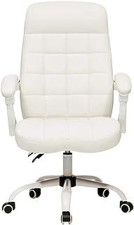 Chair Sillas para Muebles Silla para computadora Silla de Escritorio de Oficina ergonómica, Silla de Trabajo giratoria reclinable de Respaldo Medio Altura Ajustable, Tela Escocesa Blanca de Moda