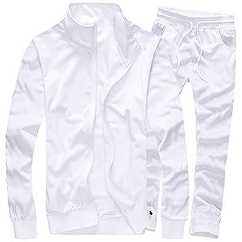 MACHLAB Men s Activewear Full Zip Warm Tracksuit Sports Set Casual Sweat Suit White M