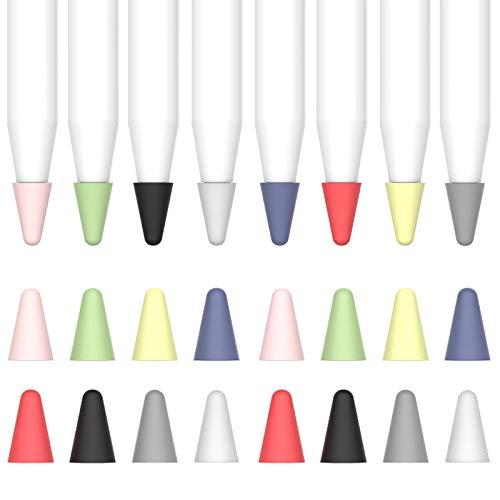 Aeeque 16 Stücke Silikon Federkappen Kompatibel mit Apple Pencil 1. und 2. Generation, Bleistift Spitzen Abdeckung Tips Abdeckung Silikon Kappe Zubehör, rutschfeste Schutz Stift Stylus - Bunte