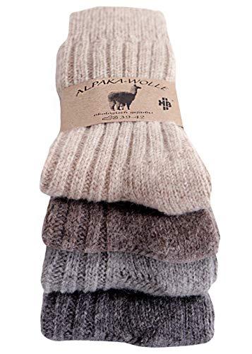 Alpakasocken - Wollsocken 100% Wolle (65% Schafwolle, 35% Alpakawolle) für Damen und Herren - 2 Paar oder 4 Paar (39-42, 4er Pack - Braun/Beige/Silber/Grau)