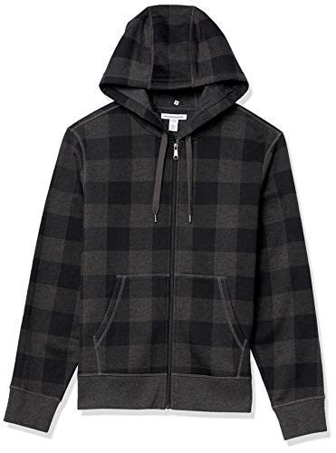 Amazon Essentials Full-Zip Hooded Fleece Sweatshirt Fashion-Hoodies, Holzkohle-Büffel-Plaid, US (EU XL-XXL)