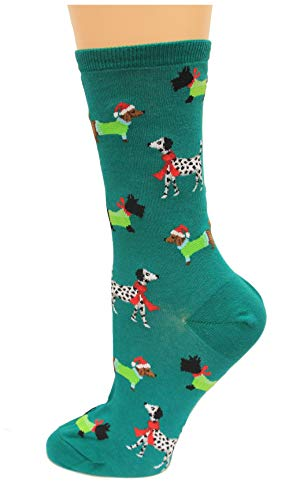 Hot Sox Women's Holiday Fun Novelty Crew Socks, Christmas Dogs (forest Green), Shoe Size: 4-10