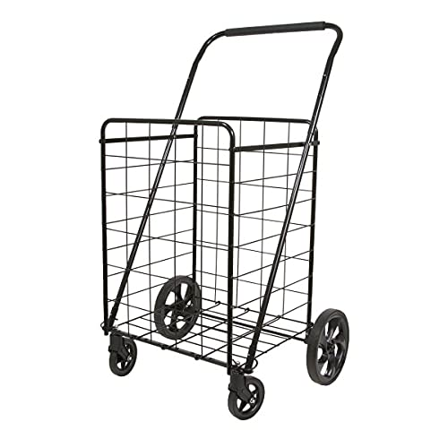 Helping Hand FQ39720 Super Deluxe Swiveler Utility Folding Cart with Height Adjustable Handle and Heavy-Duty Wheels, Black