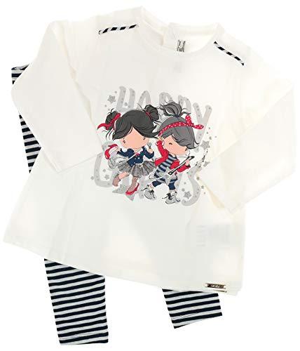 Mayoral Mädchen Baby Kindermode-Set Langarm-Shirt & Ringelleggings Happy Girls, weiß-Marineblau, Gr. 92 (92)