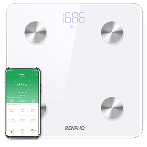 RENPHO Body Fat Scale Smart Digital Bathroom Weight BMI Scale Body Composition Monitor Analyzer with Smartphone App sync with Bluetooth, 396 lbs White