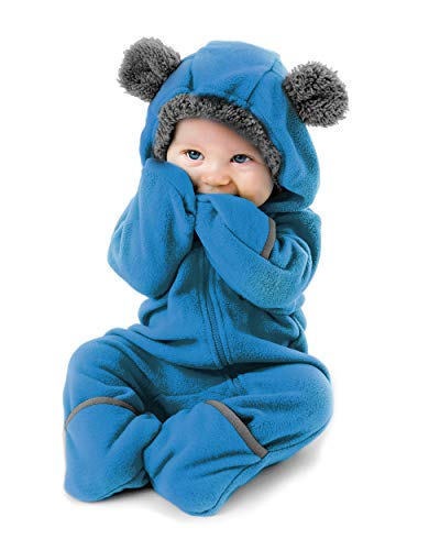 Cuddle Club Fleece Baby Bunting Infant Bodysuit Kids Hooded Romper - Bear - Blue - 18-24 Months