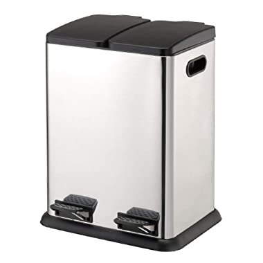 Organize It All Dual Compartment Step on Recycling Trash Can - Stainless Steel