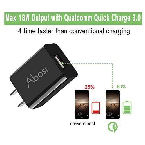 3 Pack Quick Charge 3.0 18W USB Wall Charger,Abosi Power Adapter,Quick Charging with Smart IC,Quick Charge 2.0 Compatible for GalaxyS9/S8/S7/S6/Edge/+,Note 5/4,LG,Nexus,iPhone, iPad,Qualcomm Certified