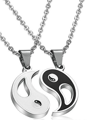 Jstyle Schmuck 2 Halskette Tai Chi Yin und Yang Anhänger für Beste Freunde Freundschaftsketten mit Metalllegierung Edelstahl Partner-Anhänger EIN Paar Männer Damen