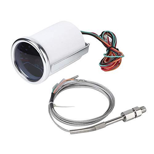 Qii lu 12V Abgasthermometer LED Weißlichtpointer Rauchglas Mechanische Temperaturanzeige 52mm/2in