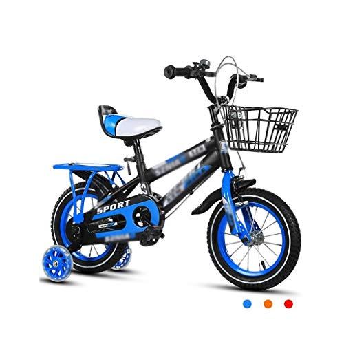 Deportes Al Aire Libre Bicicleta For Niños Niños Y Niñas Niños 2-3-4-6-7-8 Años Cochecito De Bicicleta Rueda De Entrenamiento For Niños Privados Bicicleta (Color : Blue, Size : 18 Inches)