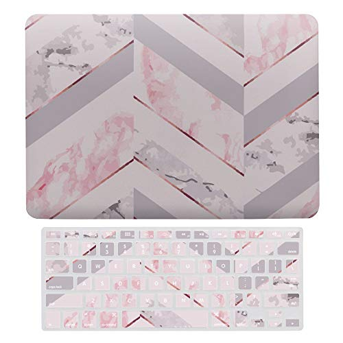 Laptop Case for MacBook Air 13' (2020), Pink Geometic with Grey, Plastic Hard Shell Cover & Keyboard Cover