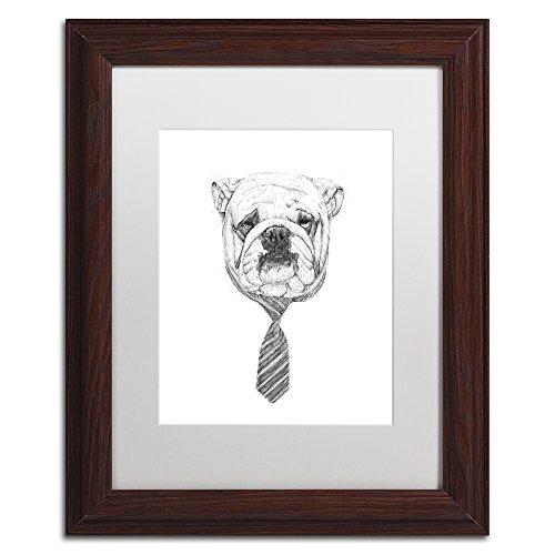 Bulldog by Balazs Solti, White Matte, Wood Frame 11x14-Inch ...