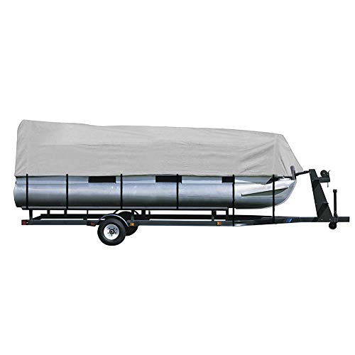 iCOVER Trailerable Pontoon Boat Cover with Storage Bag, Waterproof StormPro Heavy Duty, Polyester Fade-Resistant Fabric, Fits Pontoon Boat 21ft to 24ft Long & Beam Width up to 102in,Grey PB6303B.