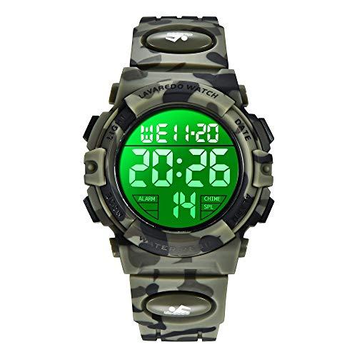 Reloj para niños de 6 a 15 años, Cronógrafo Multifuncional Deportivo Digital para Exteriores LED 61 M Reloj Despertador Resistente al Agua analógico para niños con Banda de Silicona Azul
