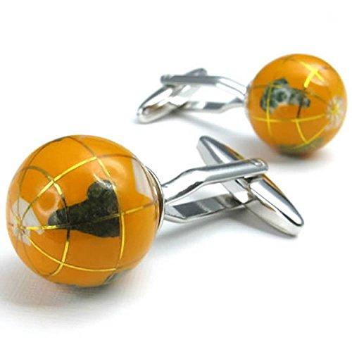 AnazoZ Chemise Shirt Bouton de Manchette Homme Argent Plaqué Rhodium Orange Tellurion Globe 1 Paire Série Mariage Business