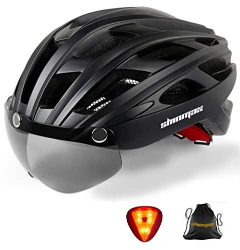 Shinmax Casco Bici con Luce di LED,Certificato CE, Casco con Visiera...