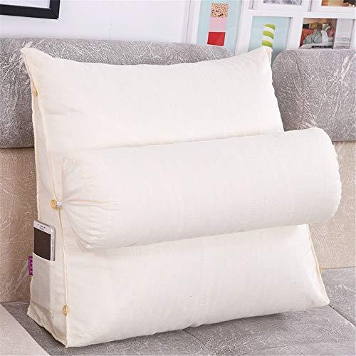 Nicole Knupfer Lesekissen Rückenkissen Kissen Rückenlehne Keilkissen Leinen Taille für Sofa Rückenlehne (Reis weiß,45x45x20cm)