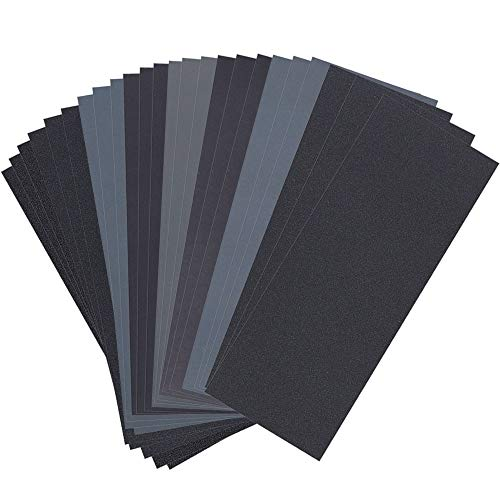 24PCS Sandpaper, Sand paper 120 to 3000 Assorted Grit Sand paper, Wet Dry Sand paper 9 x 3.6 Inch Sandpaper for Wood Furniture Finishing, Metal Sanding and Automotive Polishing, Sander Sheets