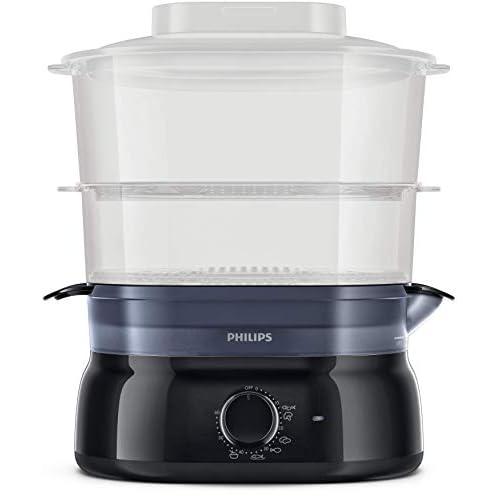 Philips HD9116/90 con infusore di aromi, 2 cestelli, Timer da Cucina per cuocere Pesce, Verdure, Riso e Molto Altro, 900 W, 5 Litri, Plastica, Nero