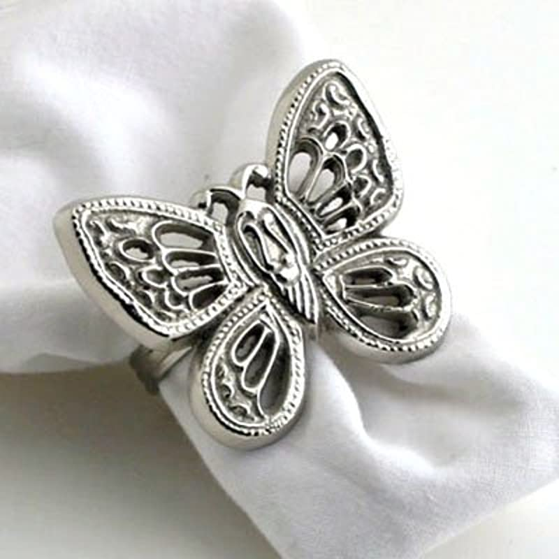 Nickel Butterfly Napkin Ring Set Of 4