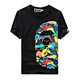 Ciino Summer Fashion Bape Pattern Print Cotton Casual Crewneck T Shirt for Men/Women Black
