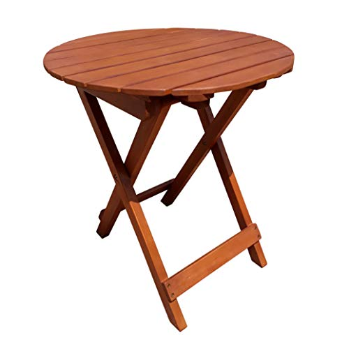 Spetebo Eukalyptus Gartentisch rund - 50x45 cm - Holz Biergartentisch Balkon Tisch Klapptisch Bistrotisch