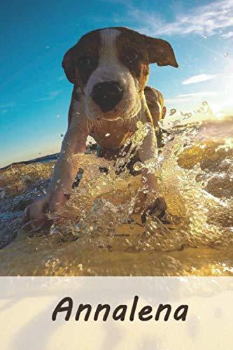 Annalena: Personalisiertes blanko Notizbuch / Malbuch mit Namen: Annalena - individuelles Namensbuch mit Hunde Motiv | perfekt als Geschenkidee