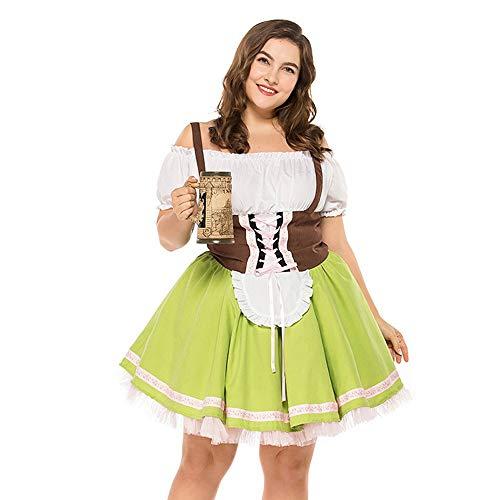 Hirolan Damen Oktoberfest Kostüme Bandage Übergröße Bayerisch Bardame Dirndlkleid Knielang Ballkleid Midi Trachtenkleid für Oktoberfest Spitzen Kleid Bluse & Schürze (Grün, 2XL)