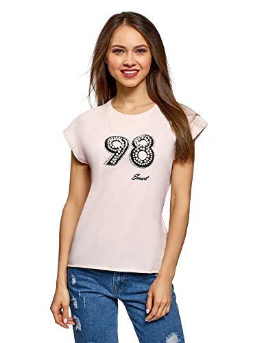 oodji Ultra Mujer Camiseta de Algodón con Decoración de Perlas y Abalorio, Rosa, ES 44 / XL