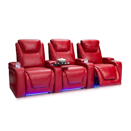Seatcraft Equinox - Home Theater Seating - Top Grain Leather - Power Recline - Powered Headrest and Lumbar Support - Arm Storage - USB Charging - Cup Holders - Row of 3, Red