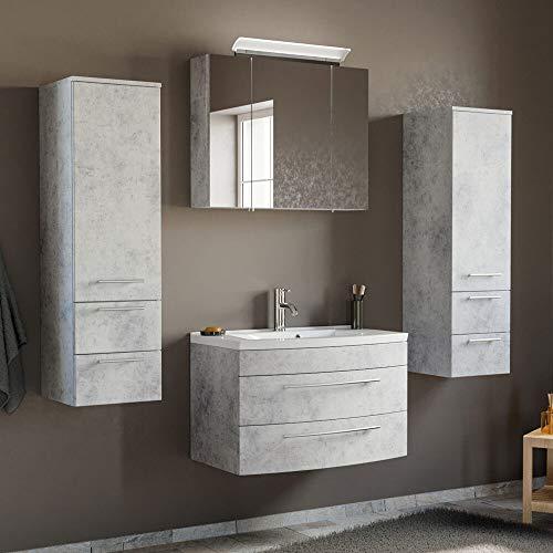 Lomadox - Juego Completo de Muebles de baño con Efecto hormigón y Lavabo de cerámica de 80 cm y Armario con Espejo LED