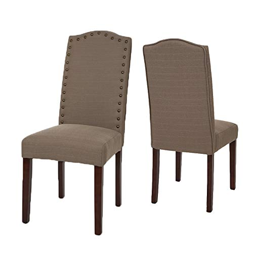 Glitzhome Upholstered Dining Chairs with Studded Decoration Brown Set of 2