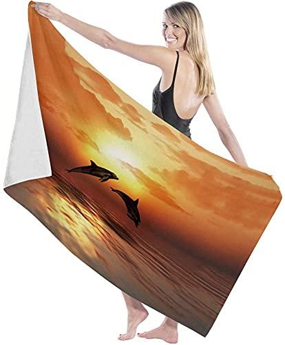 Toallas de baño, Delfines saltadores Toalla de baño al Atardecer Ducha Grande para Nadar Manta para Adultos Tela Ultra Suave para Deportes en Barco Océano Mar