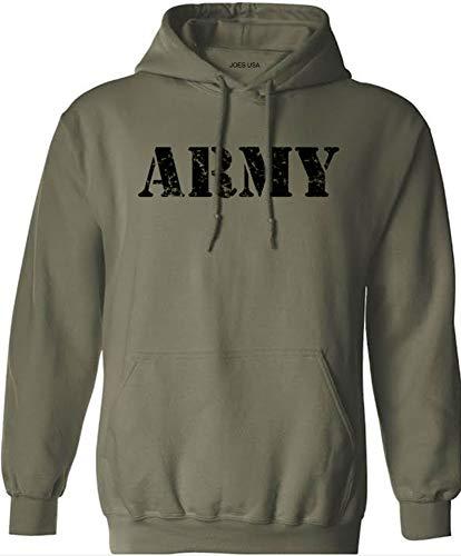 Joe's USA Vintage Army Logo - Green Hooded Sweatshirt-S