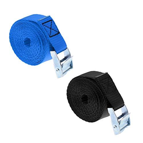 2 Piezas 25mm x 2,5m Tie Down Correas de Carga Cuerda de Amarre con Hebilla de Metal para Kayak, Canoa, Tabla de Surf